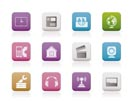 Mobile phone and computer icons - vector icon set