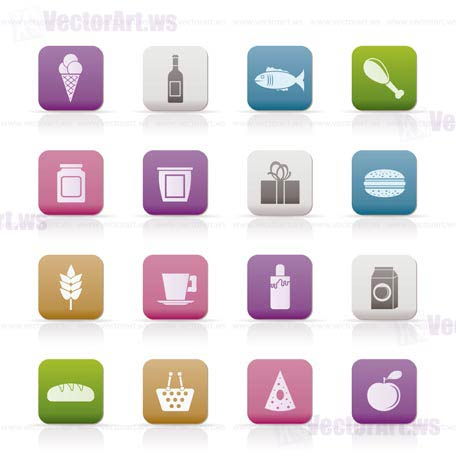 shop, food and drink icons - vector icon set