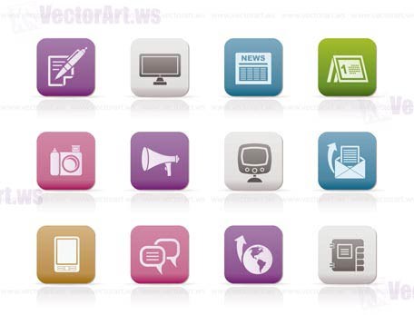 Communication channels and Social Media icons - vector icon set
