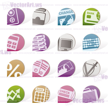 bank, business, finance and office objects - vector illustration