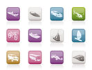 different kind of transportation and travel icons - vector icon set