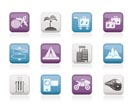 Holiday travel and transportation icons - vector icon set