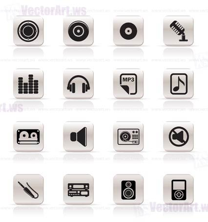 Simple Music and sound Icons Vector Icon Set