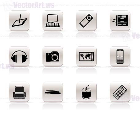 Icons black simple hi tech technical equipment icons vector icon