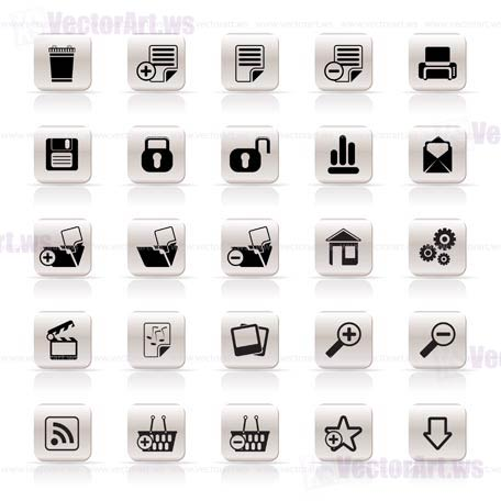 25 Simple Realistic Detailed Internet Icons - Vector Icon Set