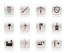 Simple medieval arms and objects icons - vector icon set
