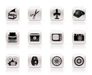 Simple Retro business and office object icons - vector icon set