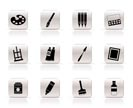 Simple painter, drawing and painting icons -  vector icon set