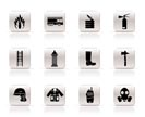 Simple fire-brigade and fireman equipment icon - vector icon set