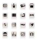 Simple bank, business, finance and office icons vector icon set