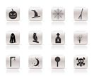 Simple halloween icon pack  with bat, pumpkin, witch, ghost, hat - vector icon set