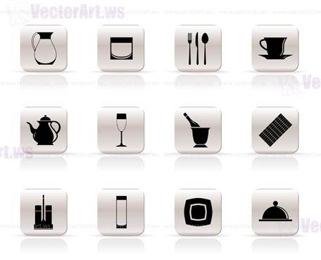 restaurant, cafe, bar and night club icons - vector icon set