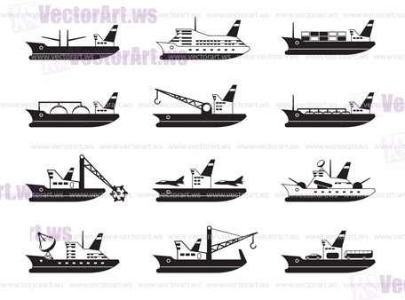 Diverse commercial and passenger ships - vector illustration