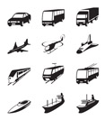 Road, sea and space transportation icons set - vector illustration
