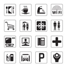 Gas station, mall and motel icons set - vector illustration