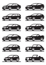 Different modern cars in  angle - vector illustration