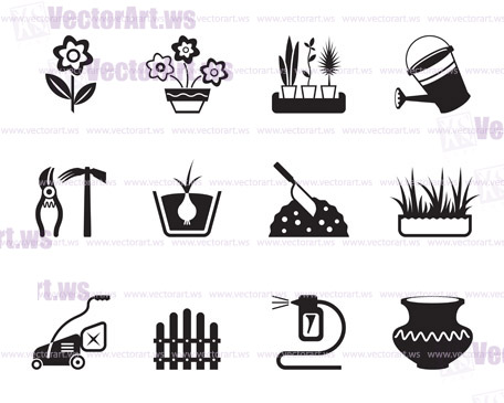 Flower and garden icons set - vector illustration