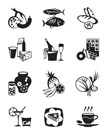 Grocery store and confectionery icons set - vector illustration