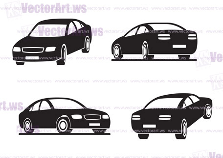 Cars in perspective - vector illustration