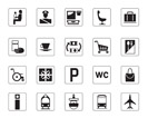 Airport, bus station and railway station icons set - vector illustration