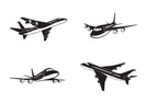 Passenger airplanes in perspective - vector illustration