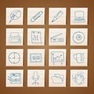 Office tools icons -  vector icon set