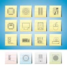 Computer  performance and equipment icons - vector icon set