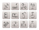 Wireless and communication technology icons - vector icon set
