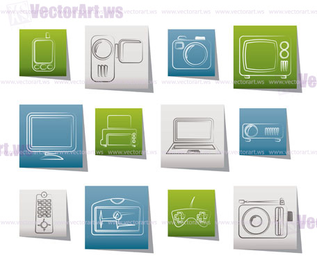 Vector icons 2 hi tech technical equipment icons vector icon set