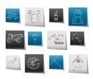 Mining and quarrying industry objects and icons - vector icon set