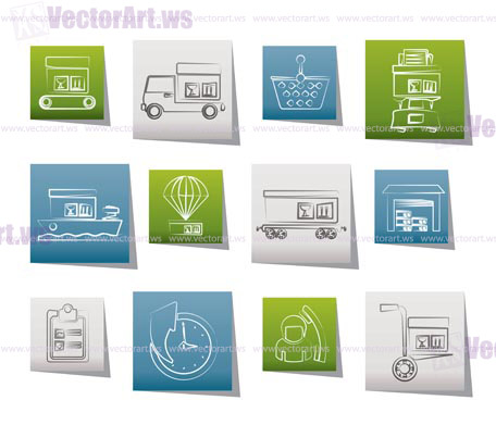 Logistic, cargo and shipping icons - vector icon set