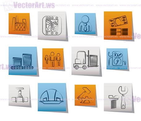 Business, factory and mill icons - vector icon set