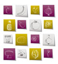 Different kind of fruit and vegetables icons - vector icon set