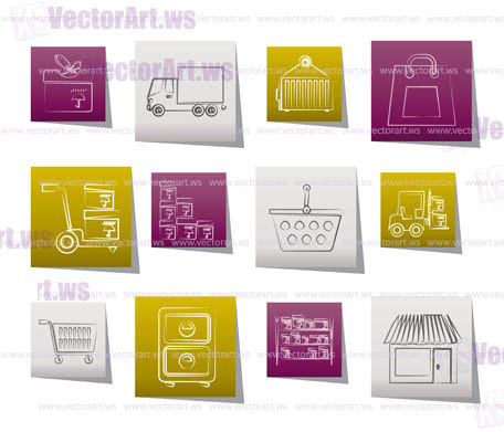 Storage, transportation, cargo and shipping icons - vector icon set
