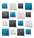 Organizer, communication and connection icons - vector icon set