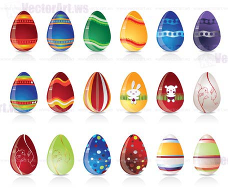 different kind of easter egg - vector illustration
