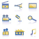movie, clip and cinema icons - vector icon set