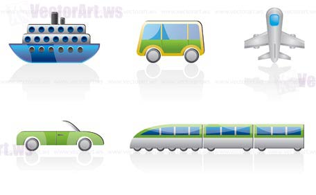 travel and transportation icons - vector icon set