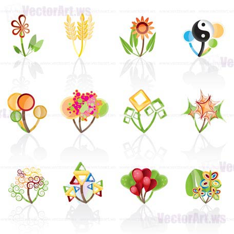 12 abstract flowers -vector icon