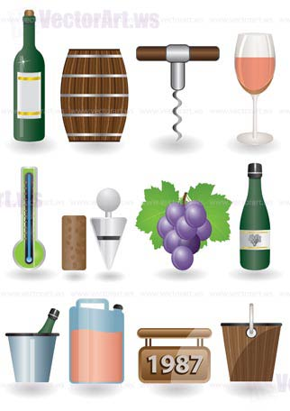 Drink and Wine icons - vector icon set