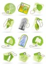Green and leaf labels - vector icon set