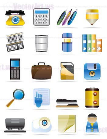 Office tools vector icon set 3