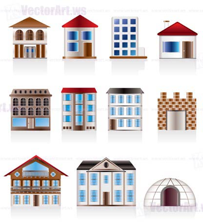 Various variants of houses and buildings - Vector Illustration