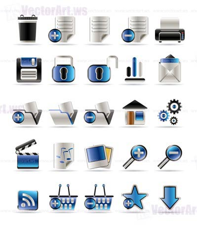 25 Realistic Detailed Internet Icons - Vector Icon Set
