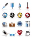 Realistic  medical themed icons and warning-signs - vector Icon Set