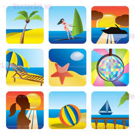 Holiday, Summer and Sea Icons -vector Icon Set