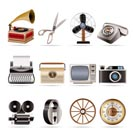 Retro business and office object icons - vector icon set