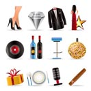 Luxury party and reception icons - vector icon set