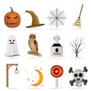 halloween icon pack  with bat, pumpkin, witch, ghost, hat - vector icon set