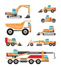 different types of trucks and  excavators icons - Vector icon set